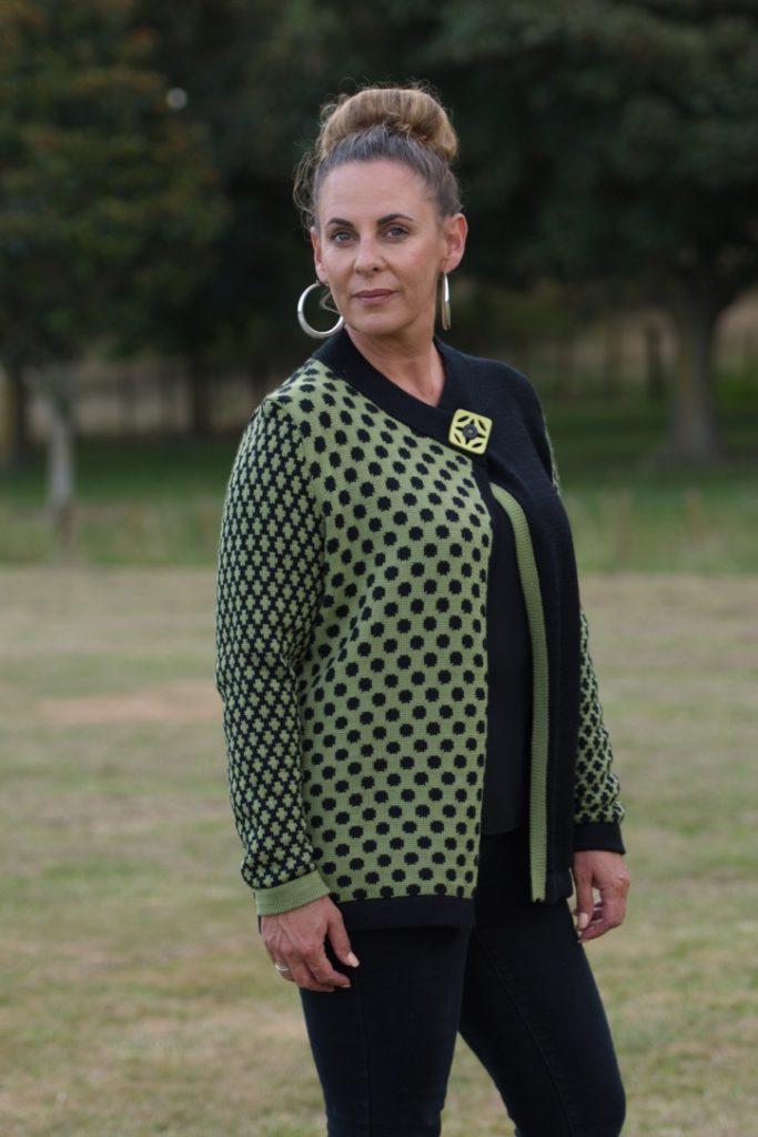 woman's-knitwear- W7-merino-spots-jacket-$160